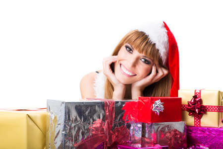 Portrait of beautiful sexy girl with gift boxes, copyspace photo