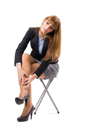 calf pain: Business Woman having ankle pain Stock Photo