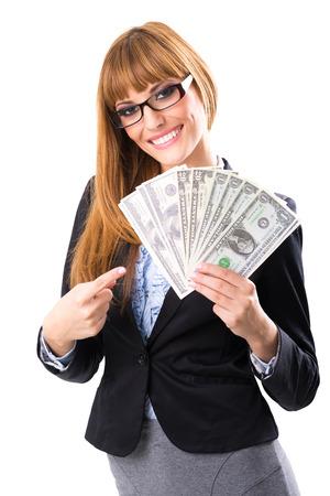 donna ricca: Ricca donna d'affari azienda dollaro