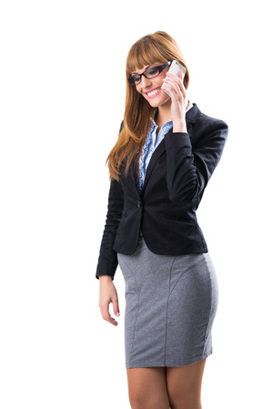 business woman phone: Pretty young business woman with phone
