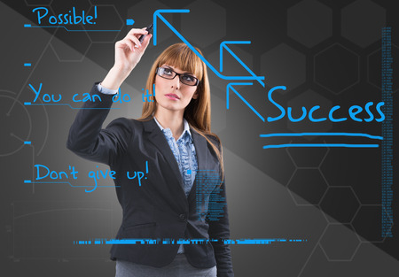 Business woman writing with blue marker pen on virtual screen photo