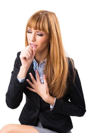 Business woman who has chest pain Stock Photo - 22730384