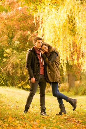 teen love: love in  the autumn park