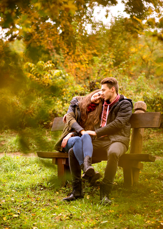 lovers park: Lovers in the autumn park Stock Photo