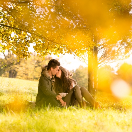 Passionate kissing in the park under a tree photo