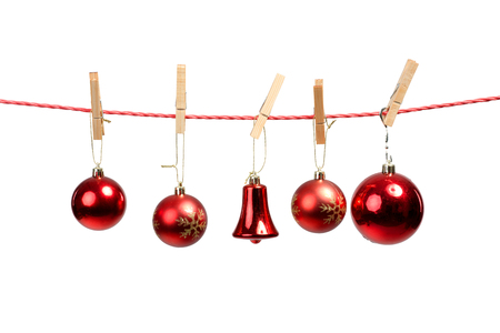 Christmas tree ornaments on the clothesline photo