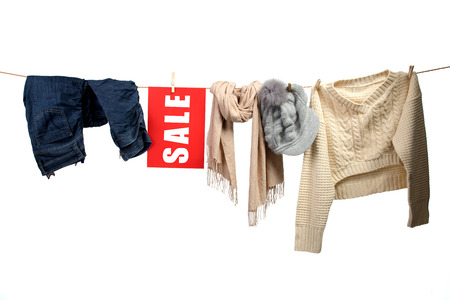 women s fashion: Women s fashion sale on the clothesline Stock Photo