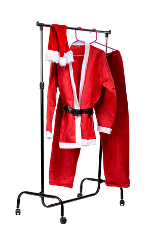 The Santa Claus clothes on clothes stander photo