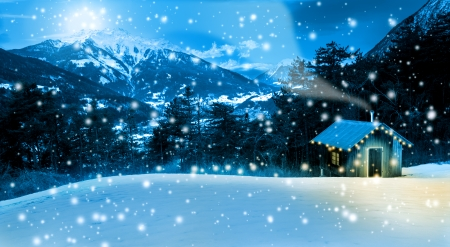 christmas landscape: Small cozy Christmas cottage ,in the mountains