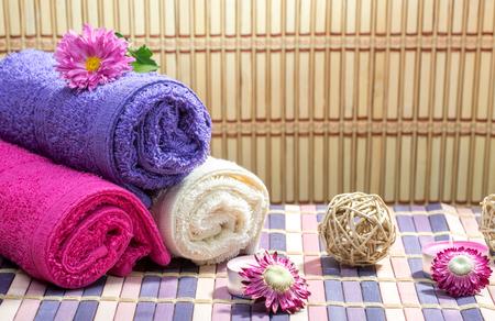 Beautiful spa setting on bamboo photo