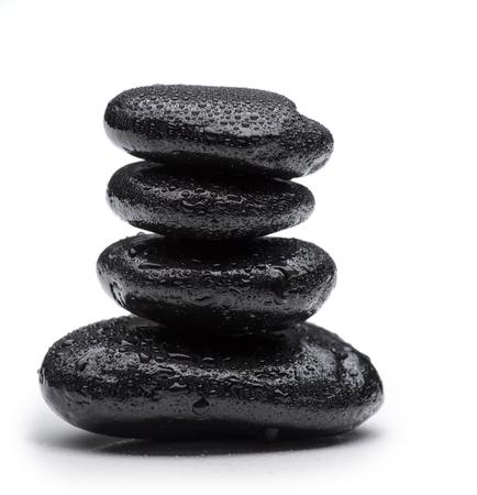 oriental massage: Spa stones   on isolated white