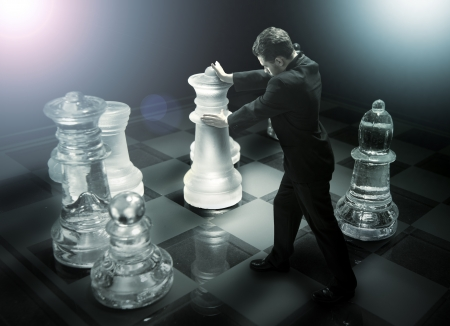 chessboard: Businessman on a chessboard as a dummy Stock Photo