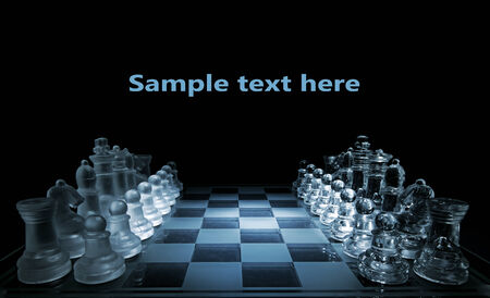 bishop chess piece: Glass chess board - your text here