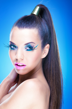 fantasy makeup: Beautiful Brunette Girl with luxury makeup