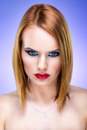 Special blond woman with beautiful make-up photo