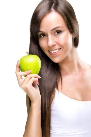 healthful: Mujer natural saludable de comer hermosa sostiene una manzana Foto de archivo