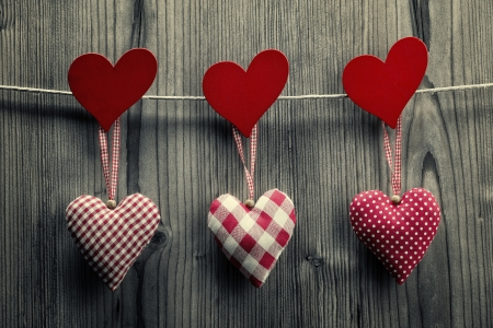 plano: Textile hearts hanging on the rope - Valentine Stock Photo