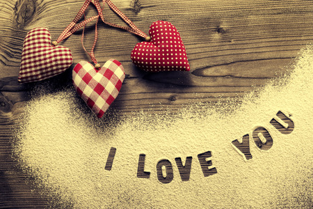 love you: Written in icing sugar   I love you Stock Photo