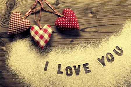 make love: Written in icing sugar   I love you Stock Photo