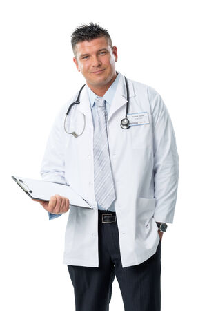 dr: Young doctor with stethoscope and folder Stock Photo