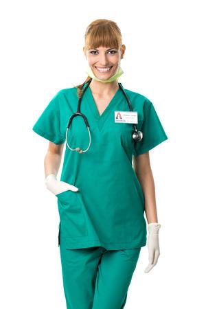 Pretty surgeon in green dress  Stock Photo