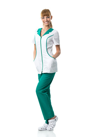 Pretty Nurse in white-green work clothing with glasses  photo