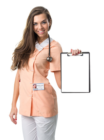 Beautiful nurse holding a folder photo