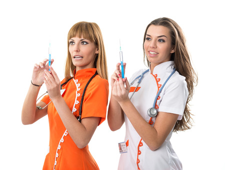 nurse injection: Two nurse his hand injection  Stock Photo