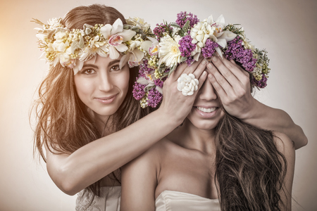 Two beautiful spring fairy, friendship symbol photo