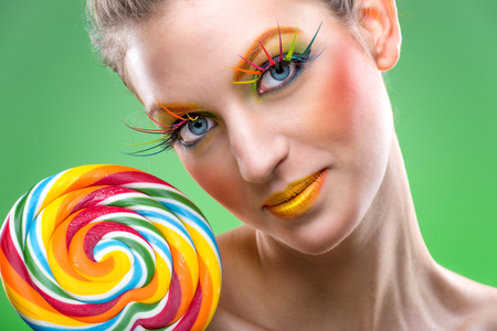 pink lips: Extremely beauty colorful lollipop