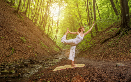 joga: Relaxation joga pose  in wonderful  forest