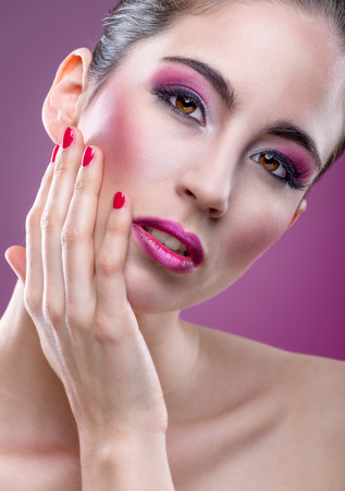 modell: Fashion modell with beautiful pink makeup Stock Photo