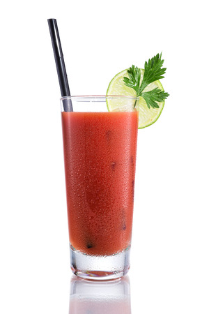 Bloody Mary cocktails, isolated on white Stock Photo