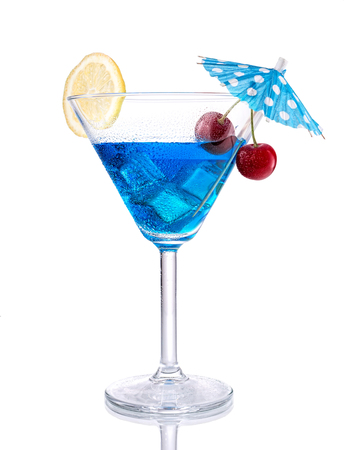 blue hawaiian drink: Blue lagoon cocktail, isolated on white