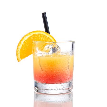 orange juice glass: Campari orange cocktail, isolated on white