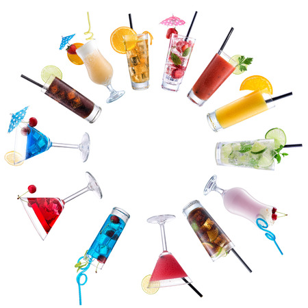 Cocktail Mix, paved circle on isolated white photo