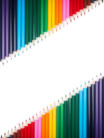 lopsided: Many colored pencils lopsided putting Stock Photo