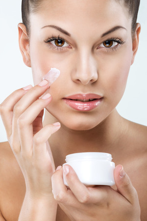 flawless: Beautiful woman with flawless skin, facial, hydration, Stock Photo