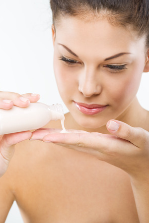 Beautiful woman with perfect skin  facial cleansing,