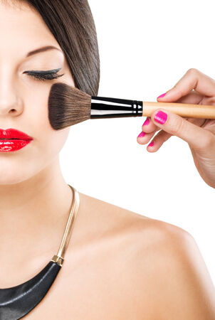 make up brush: Beautiful attractive woman with half face,  luxury makeup brush of his face