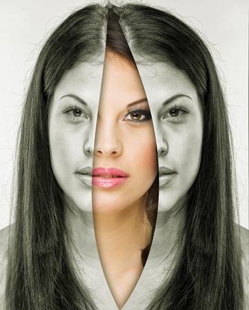 aged: Donna dietro la maschera prima e dopo il trucco Archivio Fotografico