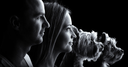 Loving couple and two yorkshire terrier dogs -Black and white profile portrait photo