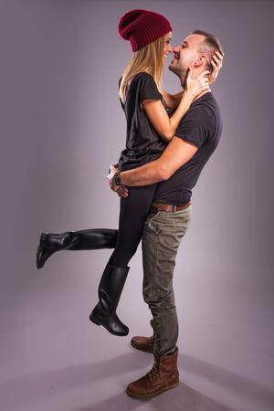 love kissing: Love Couple kissing the studio