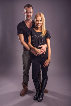 Love Couple, autumn fashion in the studio photo
