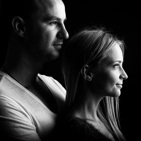 Loving couple, black and white profile picture
