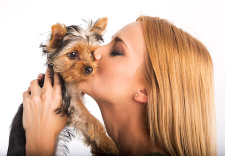 Beautiful woman to kiss the dog breed photo