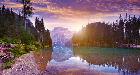 The beautiful  Lago Di Braies See  at dawn photo