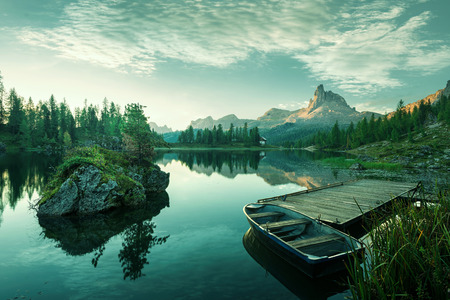 Italy, Dolomites - the beautiful lake at dawn to reveal a bluish green world photo