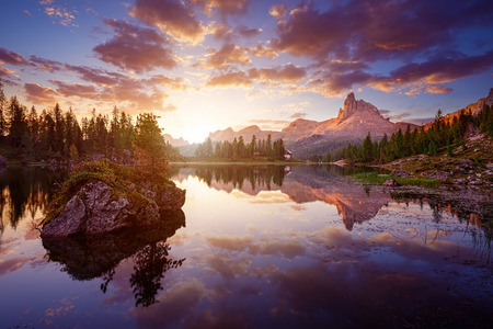 dolomites: The beautiful  Lago Di federa See  early in the morning