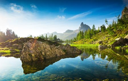 The beautiful  Lago Di Federa See  early in the morning photo